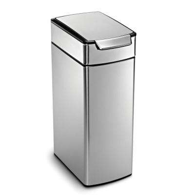 Bon 40 Liter Fingerprint Proof Brushed Stainless Steel Slim Touch Bar Trash Can