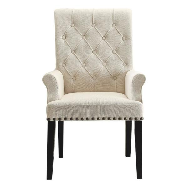 Benjara Cream And Black Diamond Tufted Upholstered Dining Chair Bm168130 The Home Depot