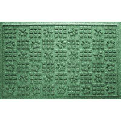 Light Green 24 in. x 36 in. Dog Paw Squares Pet Mat