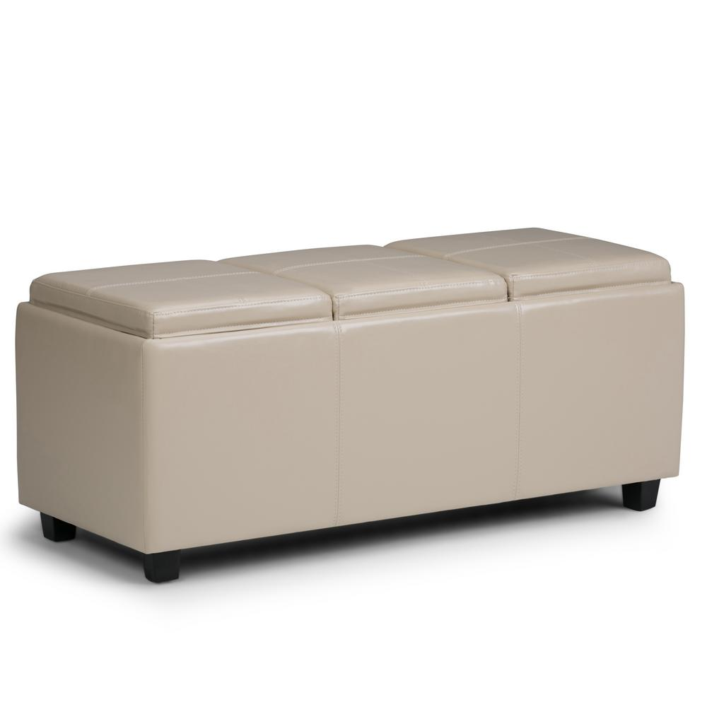 Simpli Home Avalon Satin Cream Extra Large Storage Ottoman Bench