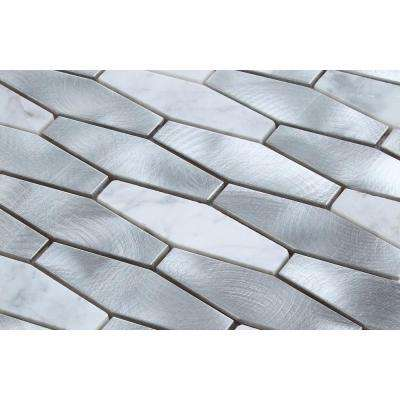 CHENX 11.81 in. x 13.98 in. Aluminum and Stone Mosaic Backsplash in Sliver/White (12.6 sq. ft./case)