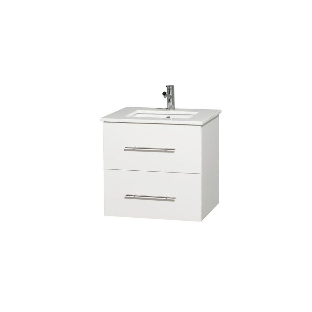 Wyndham Collection Centra 24 in. Vanity in White with Solid-Surface Vanity Top in White and Under-Mount Sink