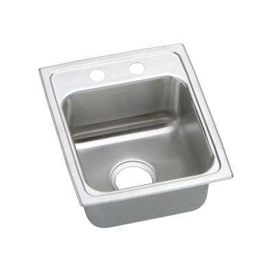 Lustertone Drop-In Stainless Steel 15 in. 2-Hole Single Bowl Kitchen Sink