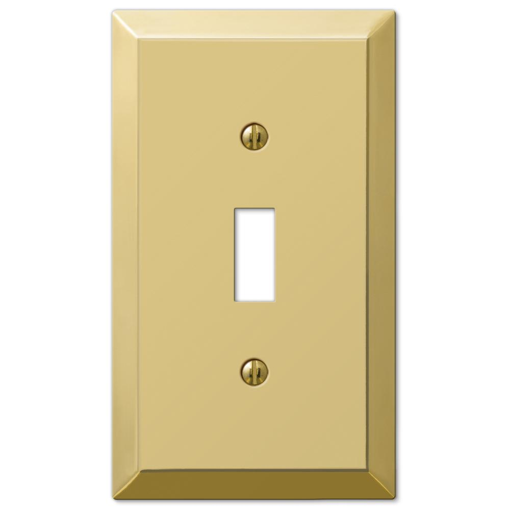 hamptonbay Hampton Bay Metallic 1 Toggle Wall Plate - Polished Brass Steel