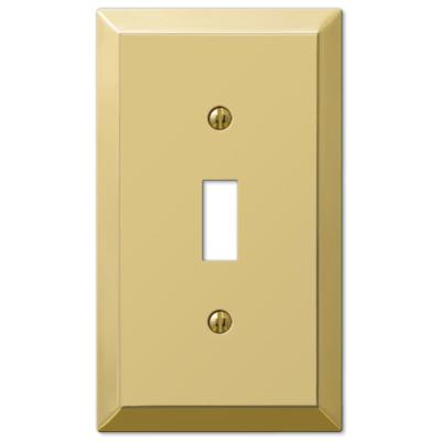 Metallic 1 Gang Toggle Steel Wall Plate - Polished Brass