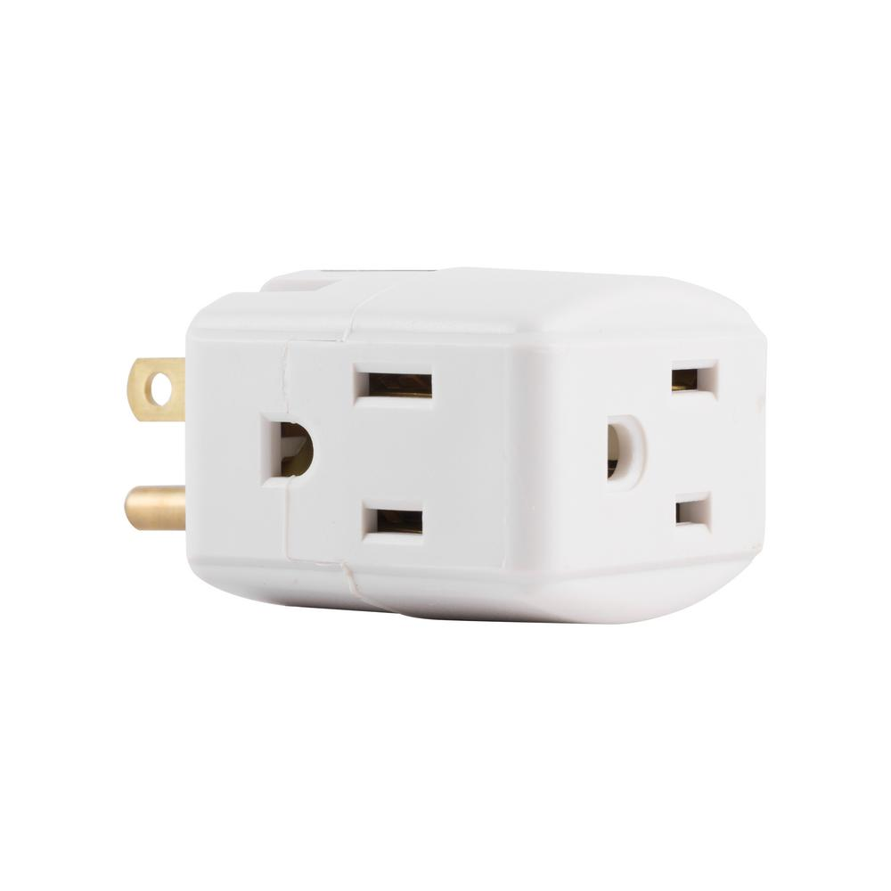 Ge 3 Outlet Grounded Cube Design Adapter White 58368 The Home Depot