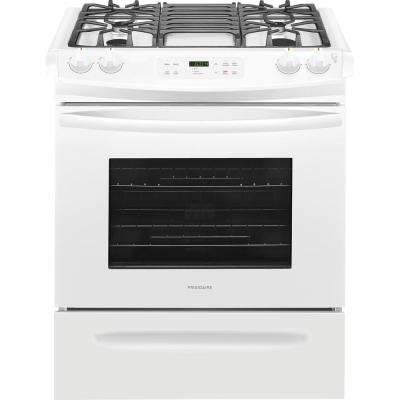 30 in. 4.6 cu. ft. Slide-In Gas Range with Self-Cleaning Oven in White