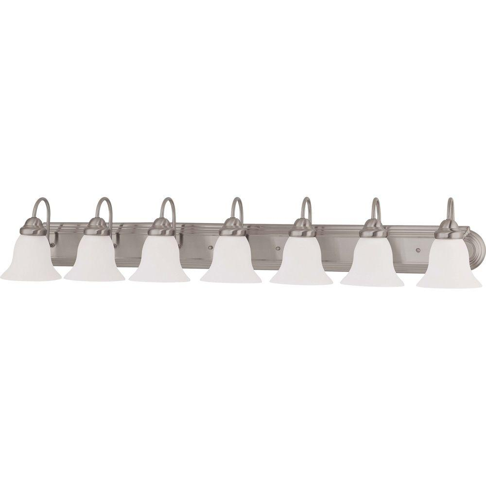 7-Light Brushed Nickel Vanity Light with Frosted White Glass