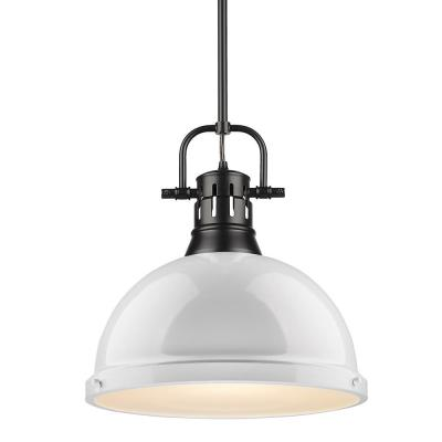 Duncan 1-Light Black Pendant and Rod with White Shade
