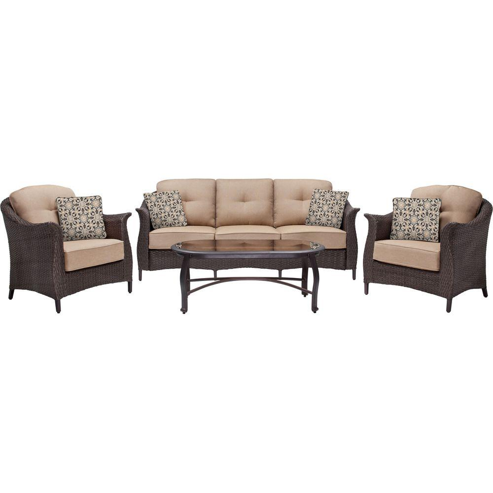 Gramercy 4-Piece All-Weather Wicker Patio Seating Set with Country Cork Cushions