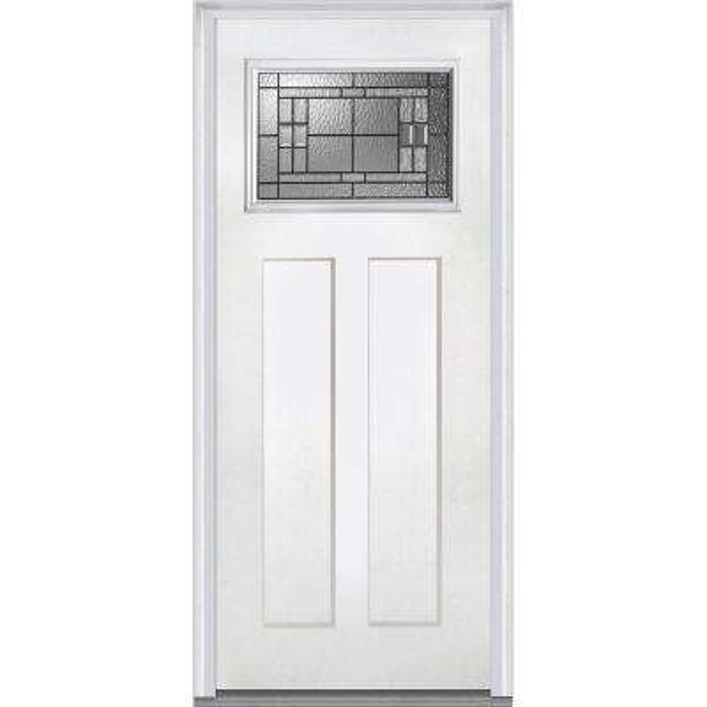 36 in. x 80 in. Roman Left-Hand Inswing Craftsman 1-Lite Decorative 2-Panel Primed Fiberglass Smooth Prehung Front Door
