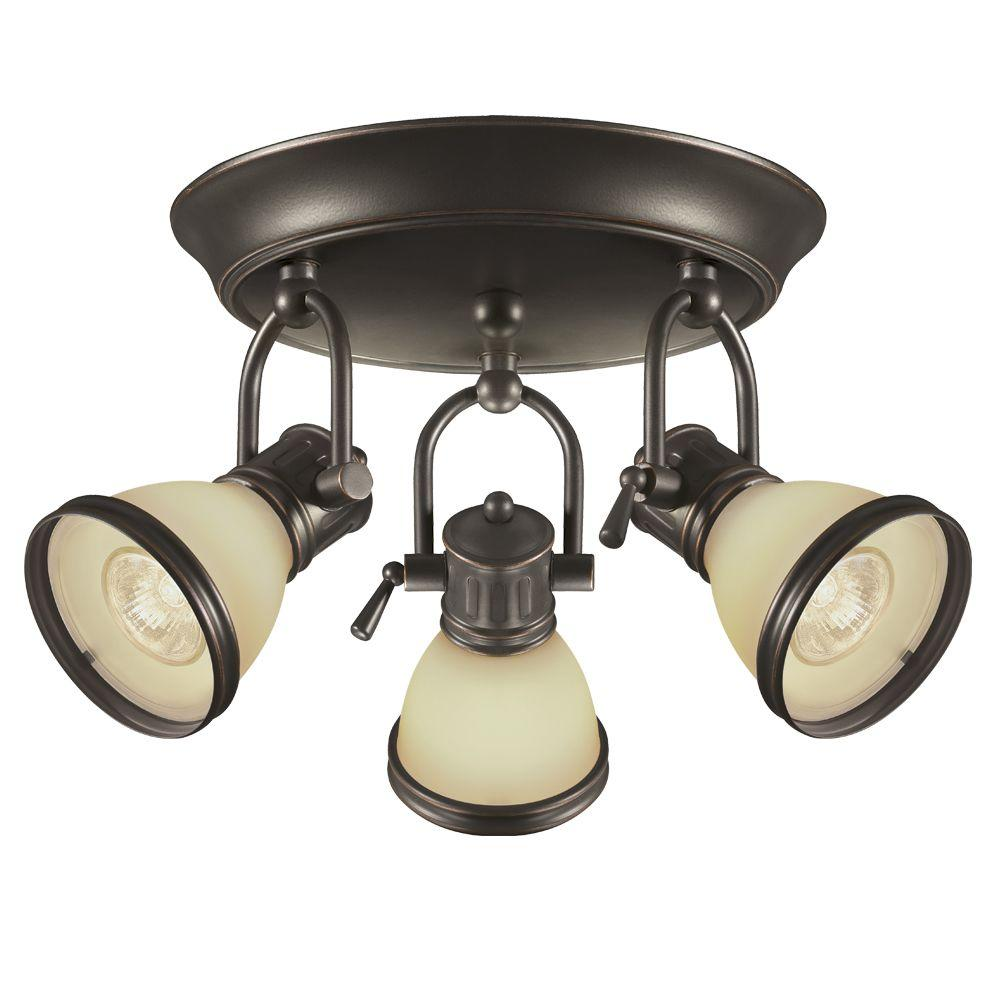Hampton Bay Brookhaven 10 in. 3-Light Oil Rubbed Bronze Canopy Track Light Kit