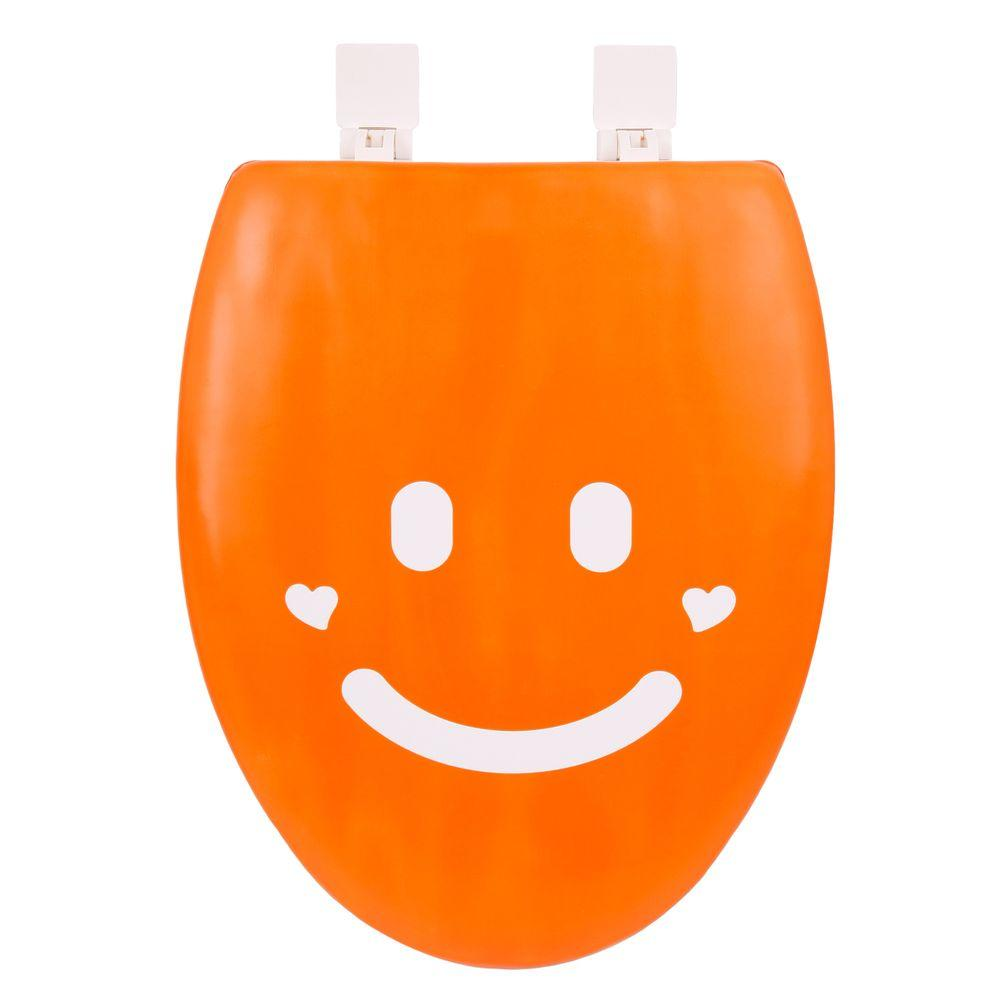 happy seat smile elongated closed front toilet seat in orange and white 053460 the home depot. Black Bedroom Furniture Sets. Home Design Ideas