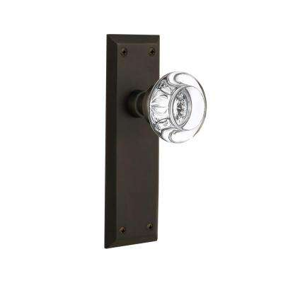 New York Plate Single Dummy Round Clear Crystal Glass Door Knob in Oil-Rubbed Bronze