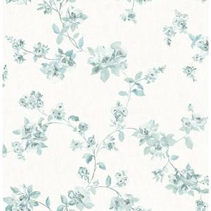 56.4 sq. ft. Cyrus Teal Floral Wallpaper