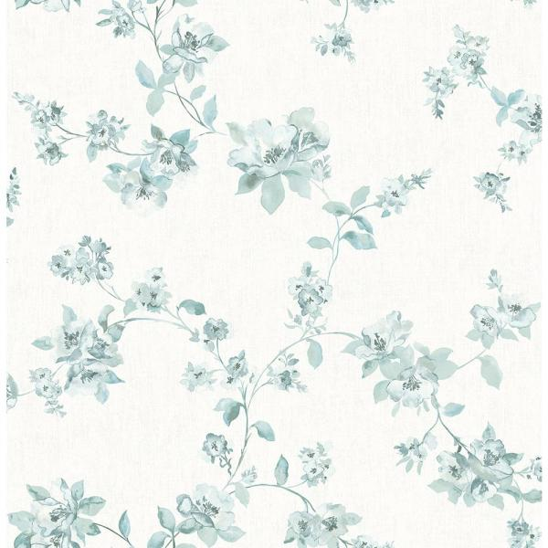 Chesapeake 8 in. x 10 in. Cyrus Teal Floral Wallpaper Sample