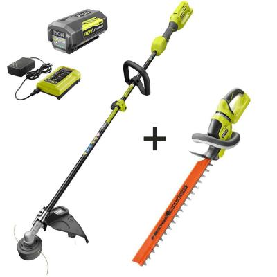 40-Volt Lithium-Ion Cordless Attachment Capable String Trimmer and Hedge Trimmer, 4.0 Ah Battery and Charger Included