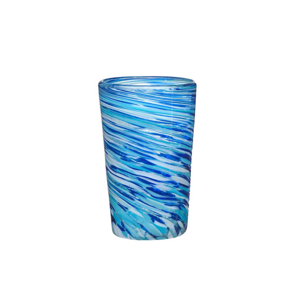 Malibu 15 oz. 4-Piece Blue-White Glass Hiball Drinkware Set