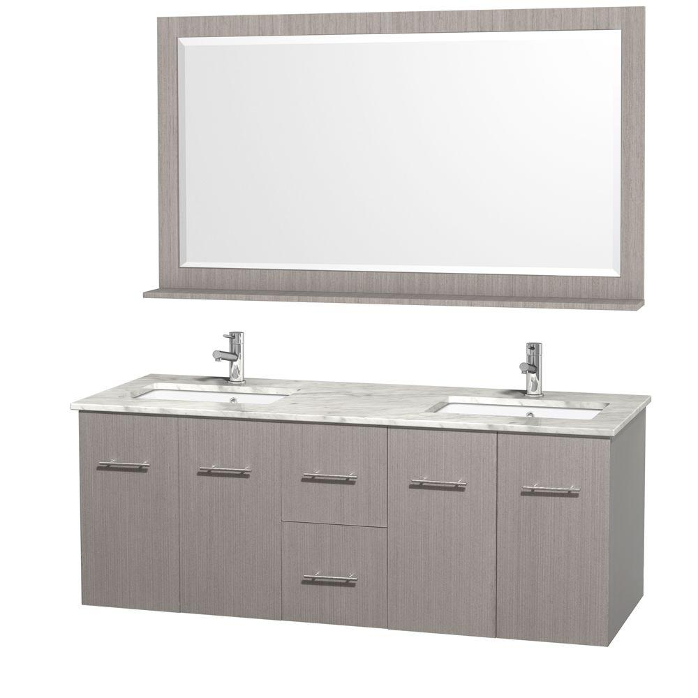 Wyndham Collection Centra 60 In Double Vanity Grey Oak With Marble Top Carrara White And Under Mount Sink