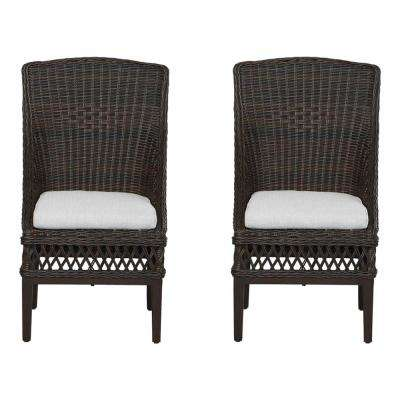 Woodbury Dark Brown Wicker Outdoor Patio Dining Chair with Bare Cushions (2-Pack)