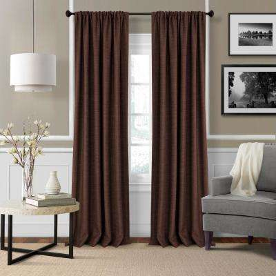 Elrene Pennington 52 in. W x 84 in. L Polyester Window Curtain Panel in Chocolate ( Set of 2)