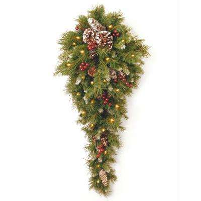 Frosted Berry 36 in. Teardrop with Battery Operated Warm White LED Lights