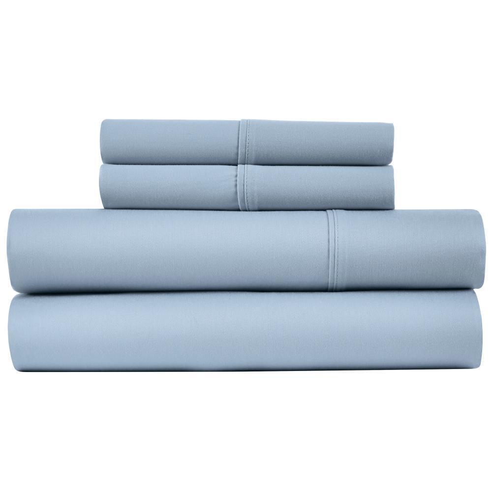Naples 4-Piece Celestial Blue Cotton Full Sheet Set