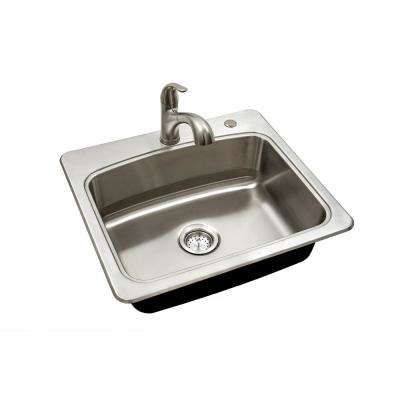 All-in-One Drop-in Stainless Steel 25 in. 2-Hole Single Bowl Kitchen Sink Kit with Faucet and Strainer