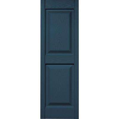 15 in. x 47 in. Raised Panel Vinyl Exterior Shutters Pair in #036 Classic Blue