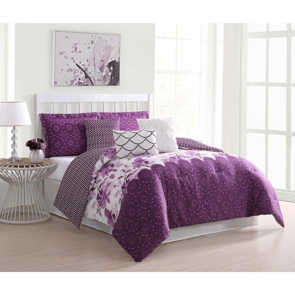 Surrey Floral 7-Piece Purple Reversible Queen Comforter Set