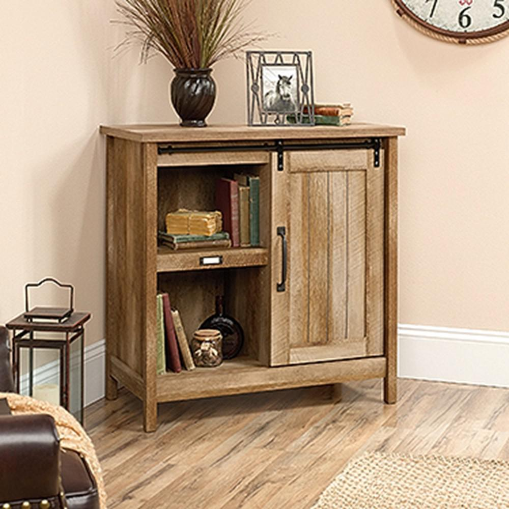 SAUDER Adept Craftsman Oak Accent Storage Cabinet With Sliding Door