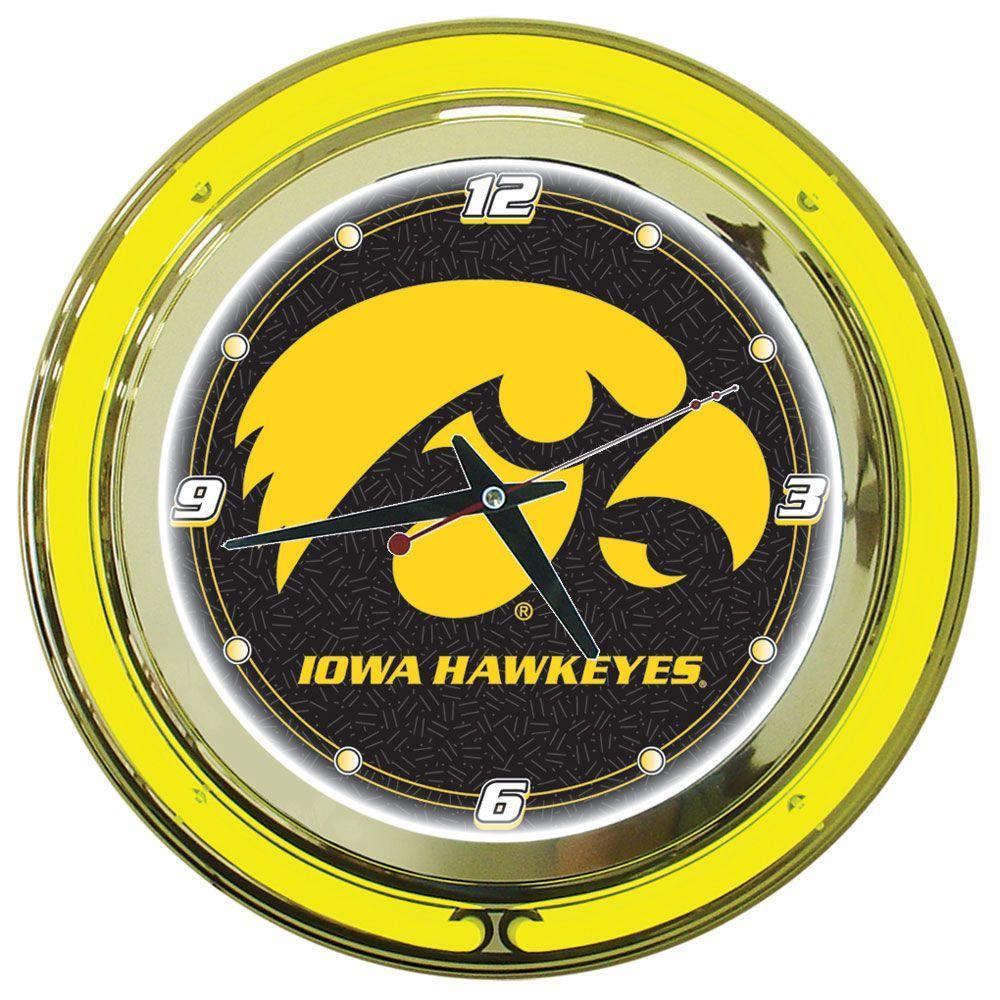 Trademark Global 14 in. University of Iowa Neon Wall Clock