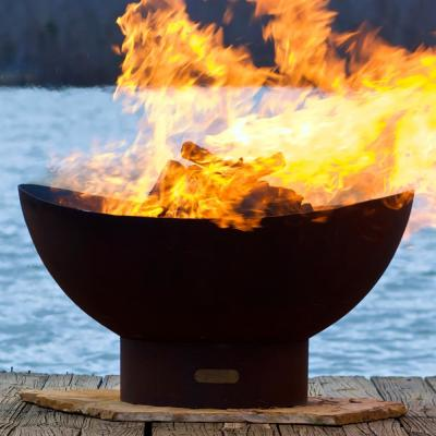 Scallop 36 in. x 18.5 in. Round Carbon Steel Wood Fire Pit in Iron Oxide