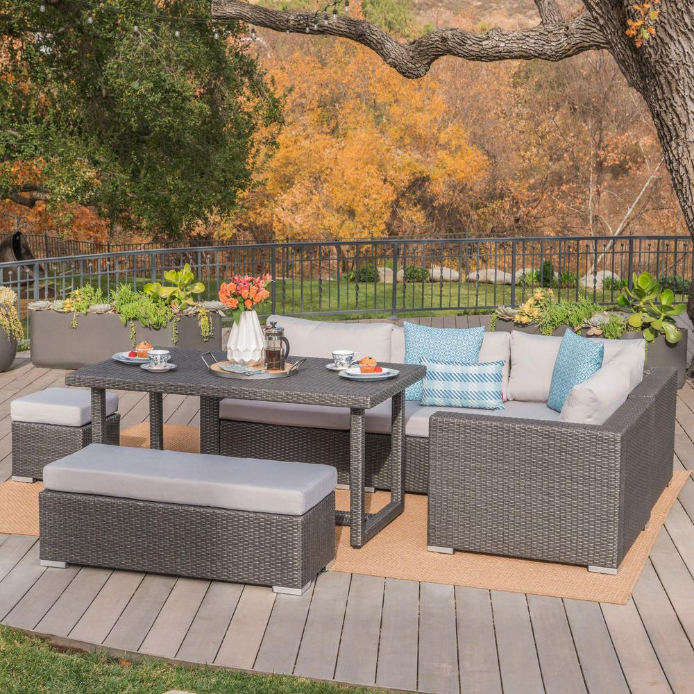 Noble House Gray 7-Piece Wicker Rectangular Outdoor Sofa Dining Set with  Silver Cushion