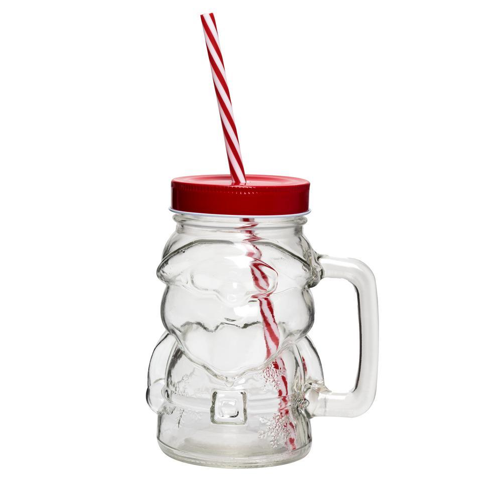 Deck the Halls 20 oz. 4-Piece Clear Glass Santa Mason Jar Drinkware Set