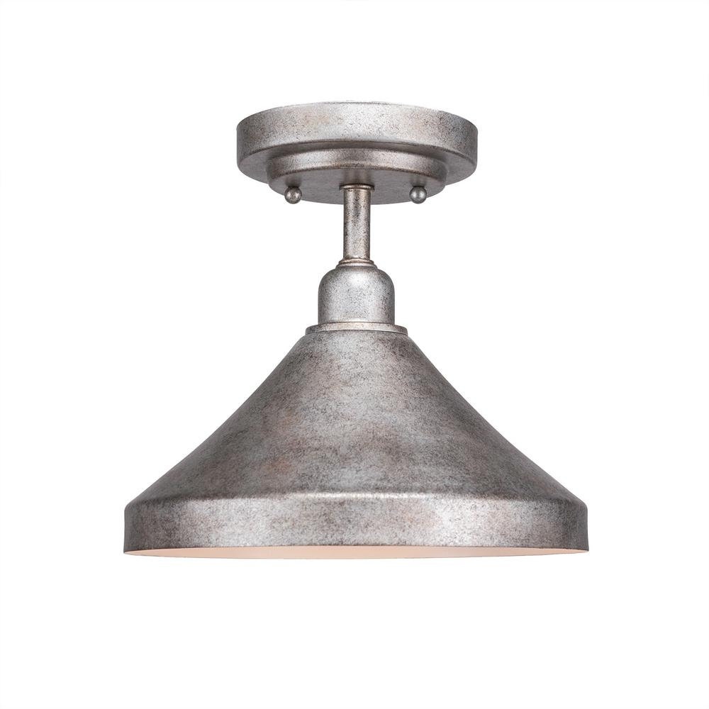 Filament Design 10 in. 1-Light Aged Silver Semi-Flush Mount with Aged Silver Metal Shade Steel
