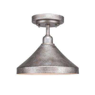 10 in. 1-Light Aged Silver Semi-Flush Mount with Aged Silver Metal Shade Steel