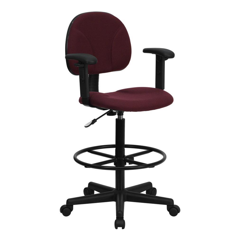 Phenomenal Flash Furniture Burgundy Fabric Ergonomic Drafting Chair Dailytribune Chair Design For Home Dailytribuneorg