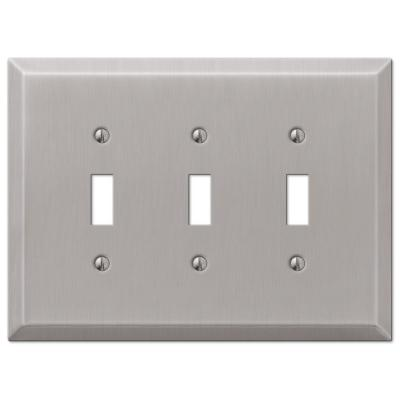 Oversized 3 Gang Toggle Steel Wall Plate - Brushed Nickel