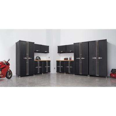 PRO 322 in. W x 75.5 in. H x 24 in. D 18-Gauge Welded Steel Garage Cabinet Set in Black (13 Piece)