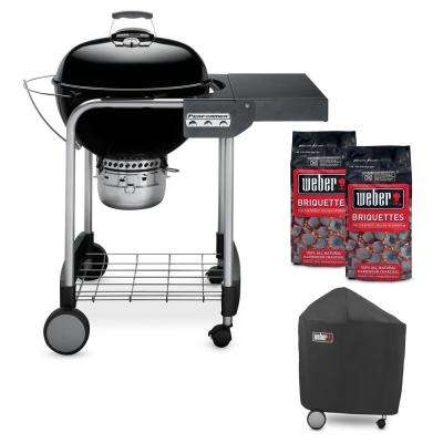 22 in. Performer Charcoal Grill in Black Combo with Grill Cover and 2-Bags of Weber Briquettes