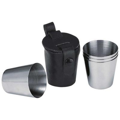 Stainless Steel Set of 3 Shot Cups with Leather Carrying Case