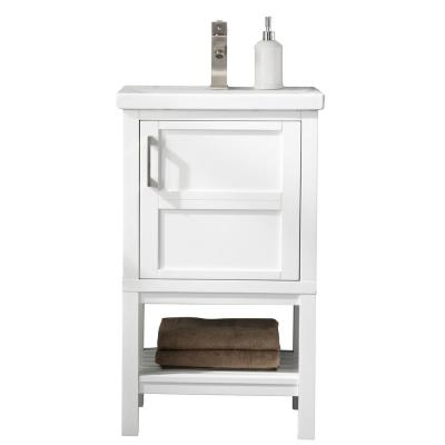 Bailey 20 in. W x 15.7 in. D Bath Vanity in White with Porcelain Vanity Top in White with White Basin