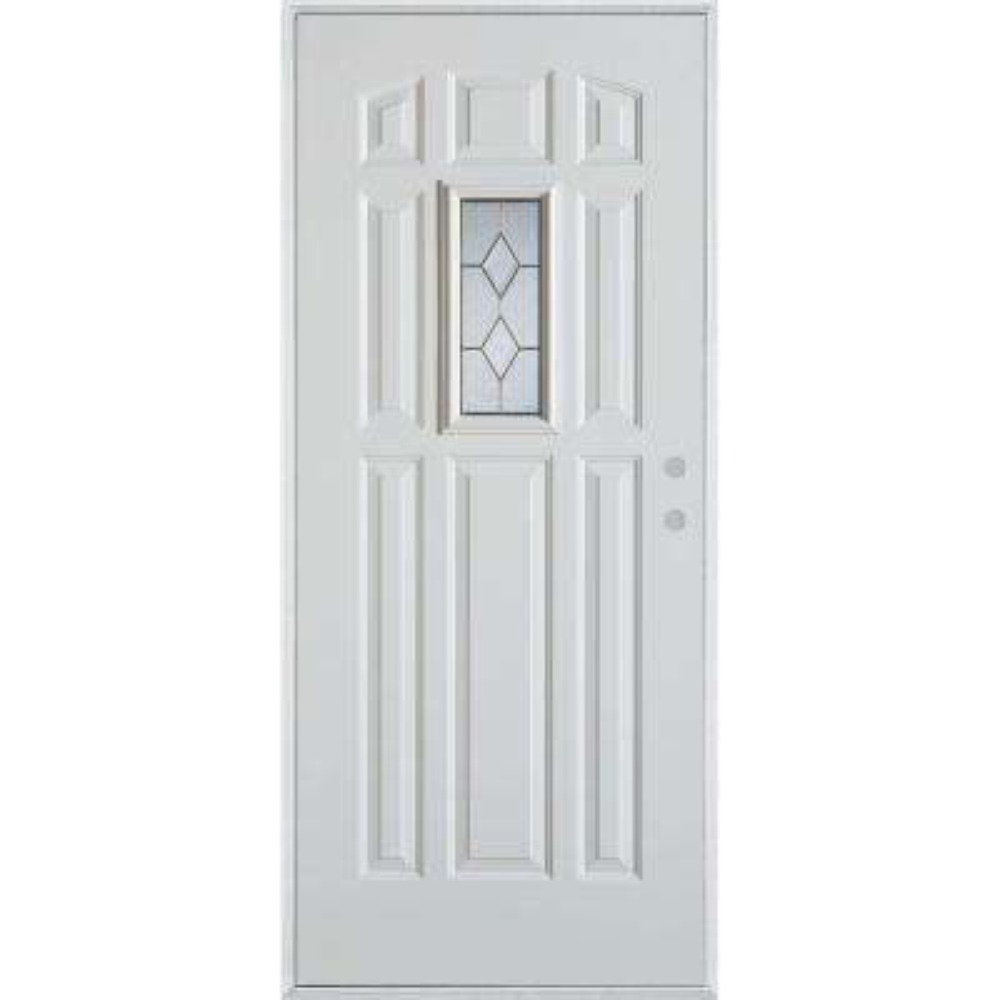36 in. x 80 in. Geometric Brass Rectangular Lite 9-Panel Painted White Left-Hand Inswing Steel Prehung Front Door