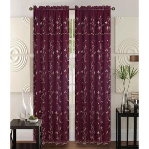 Kashi Home Alma Burgundy/Gold 55 inch L Rod Pocket Curtain Panel by Kashi Home