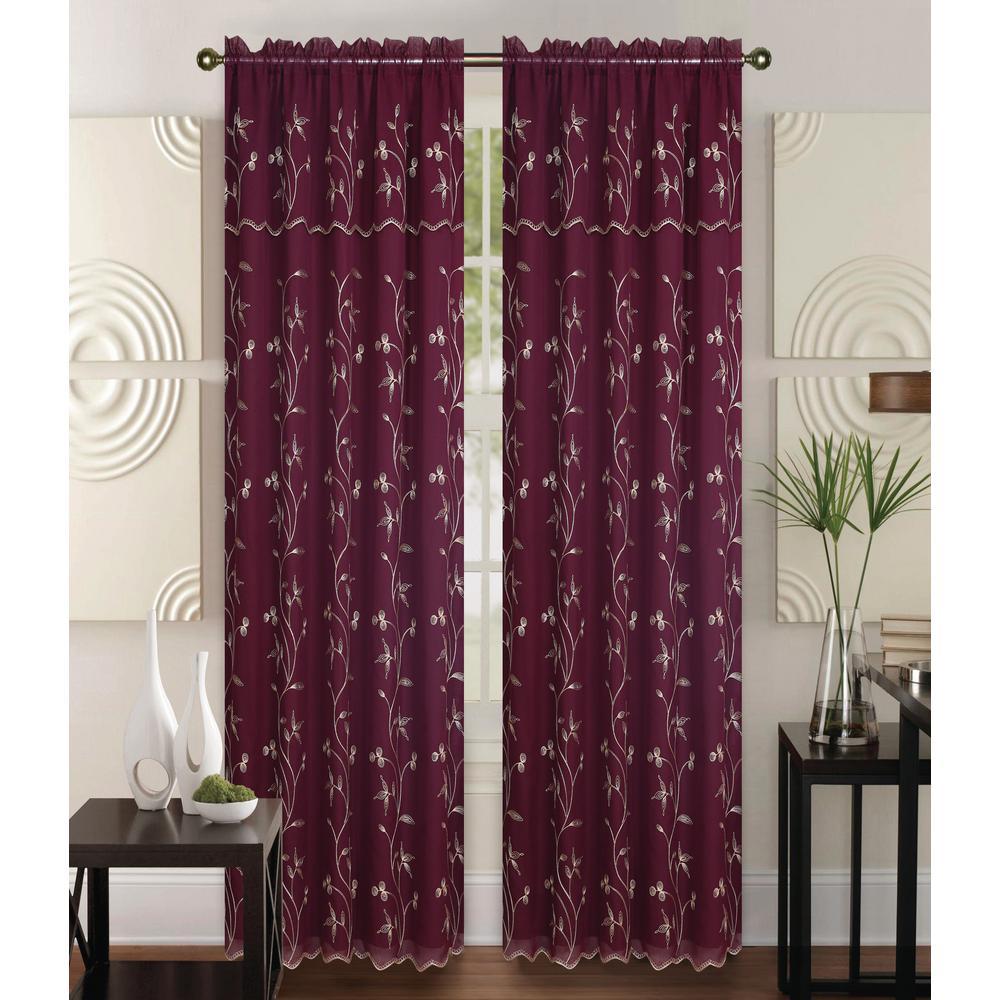 b0cd13454541 Kashi Home Alma Burgundy Gold 55 in. L Rod Pocket Curtain Panel ...