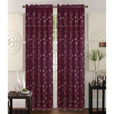 Alma Burgundy/Gold 55 in. L Rod Pocket Curtain Panel