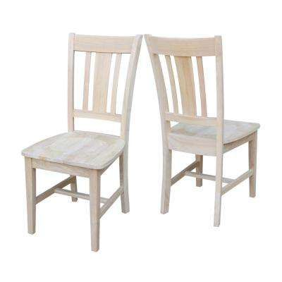 san remo unfinished wood slat back dining chair set of 2 - Wooden Kitchen Chairs