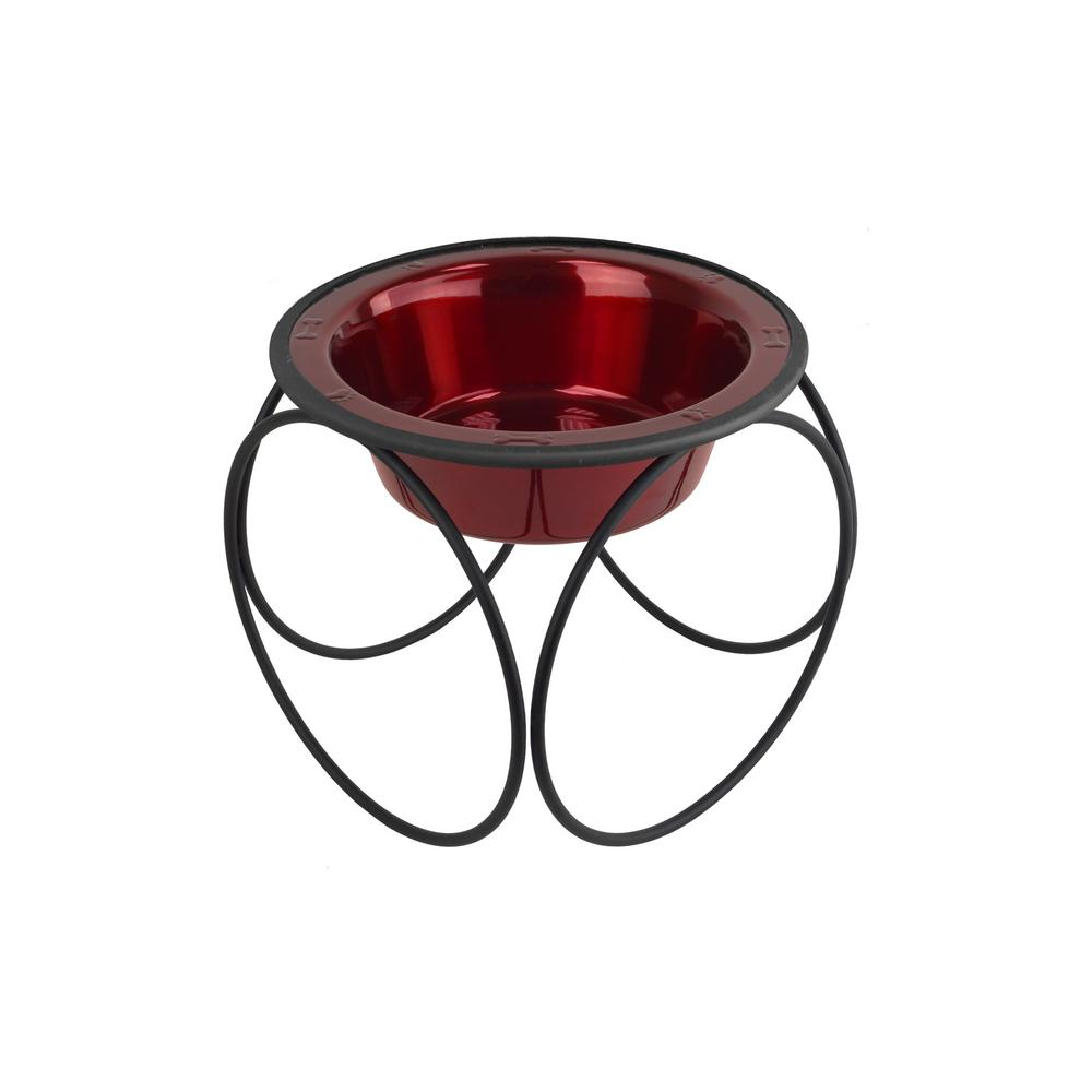 1.25 Cup Olympic Single Diner Feeder with Dog/Cat Bowl, Candy Apple