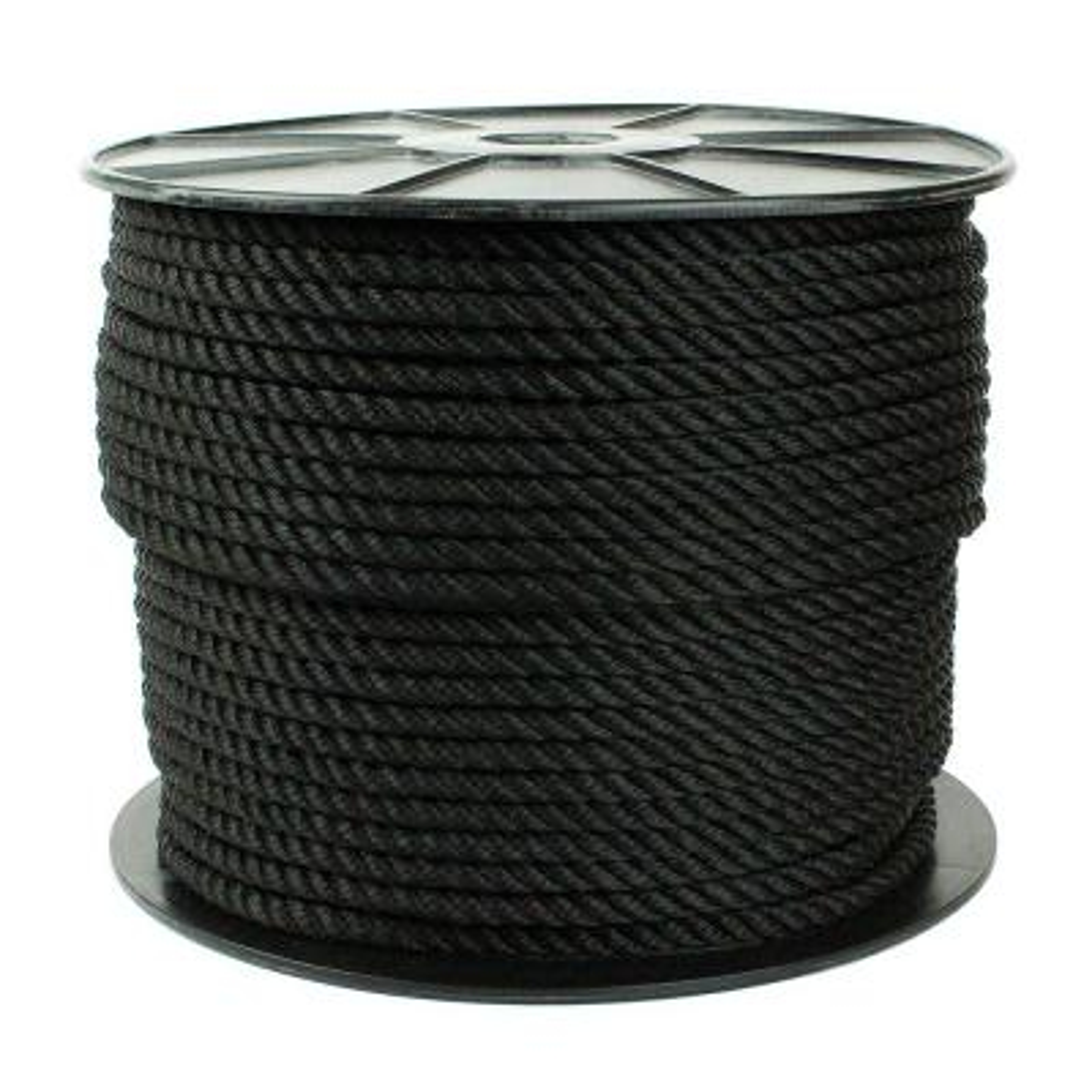 1/2 in. x 300 ft. Nylon Twist Rope, Black